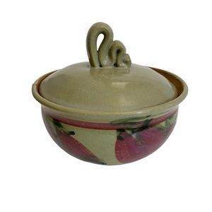 Studio Pottery Bowl with Lid Beige Red